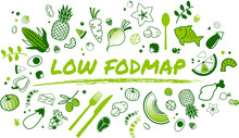 Low Fodmap Diet Concept: Healthy And Well-balanced Food - Vector Illustration