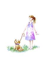 Girl And Puppy.Child Silhouett...