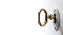 Old Key In Keyhole, Macro Shot...
