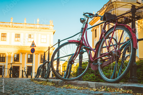 Foto op Canvas Fiets bicycle parked in an old European city