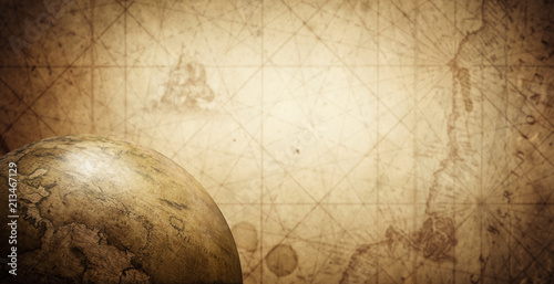 Foto  Ancient old globe on the vintage map background