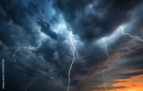 Aluminium Prints Storm Lightning thunderstorm flash over the night sky. Concept on topic weather, cataclysms (hurricane, Typhoon, tornado)