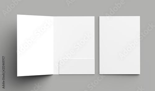 Fotografía  A4 size single pocket reinforced folder mock up isolated on gray background