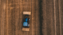 Aerial View Of Harvest Field W...