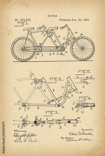 Fototapeta 1897 Patent Velocipede tandem Bicycle archival history invention