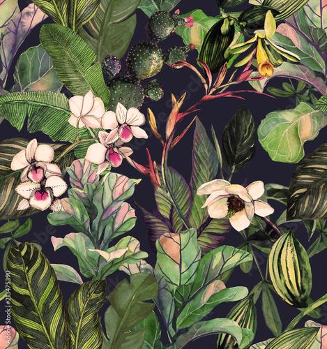 Fototapeta premium Wzór z tropikalnych liści i kwiatów. Akwarela z kwiatami. Tło botaniczne