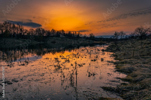 In de dag Zwart Spring landscape