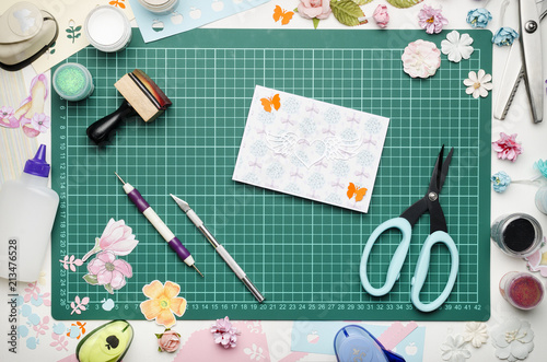 Greeting Card On Green Cutting Mat Scrapbooking Tools And Materials