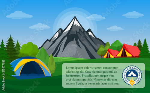 Foto op Canvas Pool Vector mountains camping horizontal banner