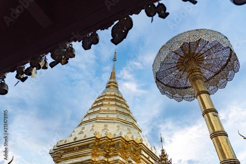Deurstickers Bedehuis The golden temple against with blue sky,