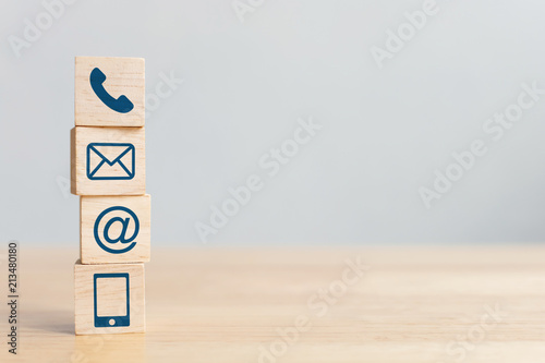 Wooden block cube symbol telephone, email, address and mobile phone Canvas Print