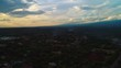 Aerial clip during sunset of Moshi city and the view of Mount Kilimanjaro.