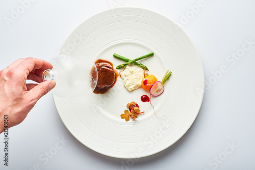 Foto op Plexiglas Klaar gerecht poultry roulade with mashed potatoes and asparagus