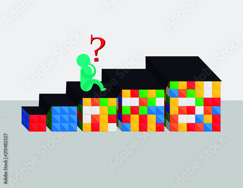 Cube puzzle: illustrations with several cubes, of sizes 2x2, 3x3