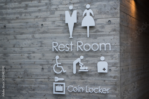 Valokuva  トイレマーク 男性用 女性用 多機能トイレ 身障者用 おむつ交換台 オストメイト コインロッカー