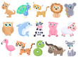 Cute cartoon animals set.