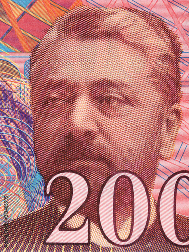 Gustave Eiffel portrait from French money Plakat
