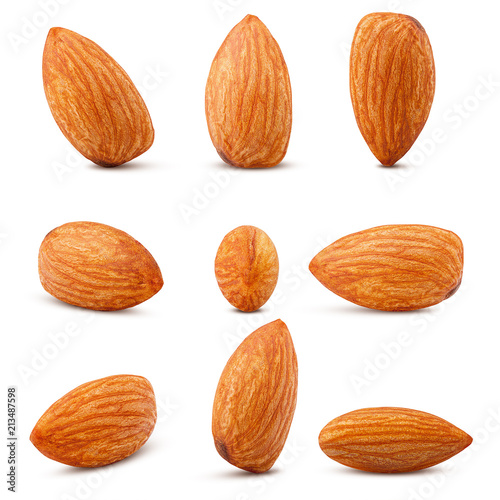 almond isolated on white background, clipping path, full depth of field Canvas Print
