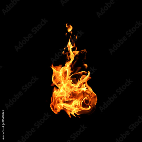 Tablou Canvas Fire flames on black background.