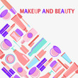 MakeUp and beauty Symbols, Cosmetics and fashion background with objects