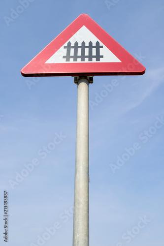 Fotografia, Obraz  Dutch road sign: level crossing with barrier or gates ahead
