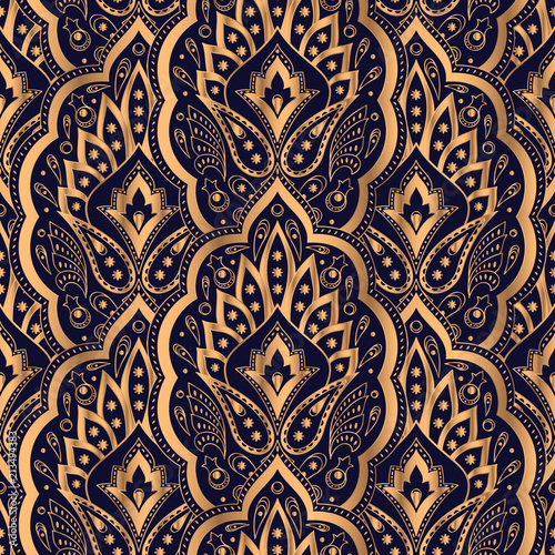 Paisley Royal Pattern Seamless Golden Design For Yoga Wallpaper Beauty