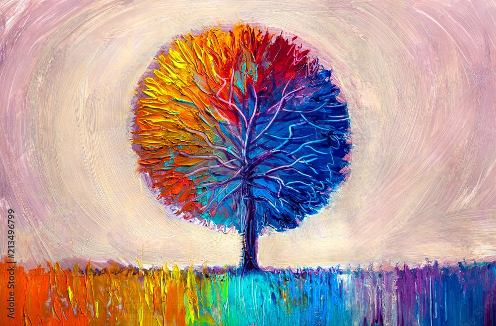 Fototapeta Tree, oil painting, artistic background