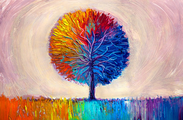 Tree, oil painting, artistic background