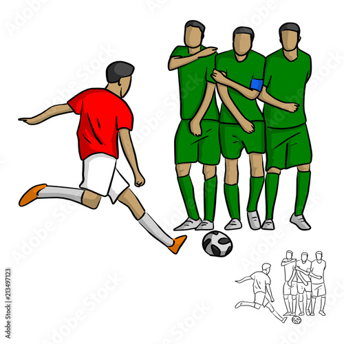 Fotografie, Tablou  male soccer player shooting a ball to the wall vector illustration sketch doodle