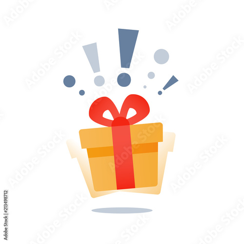 Wonder gift with exclamation mark, delight present, surprise yellow gift box, sp Slika na platnu
