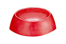 Empty Pet Feeding Bowl For Dry And Wet Food. One Single Object, Bright Red Colour, Round Shape, Cute Classic Design, Side View. Hand Drawn Watercolour Painting On White Background, Cut Out Clipart.