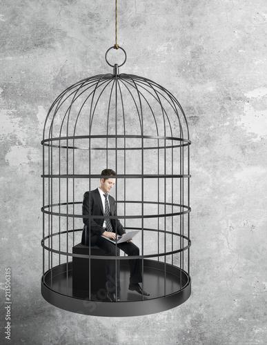 Valokuvatapetti businessman working in birdcage