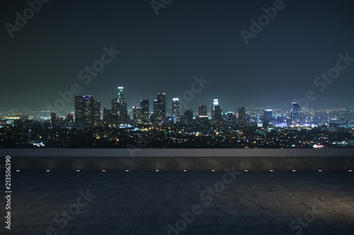 Poster Batiment Urbain night panoramic city view