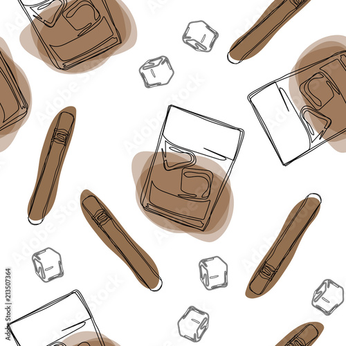 Seamless pattern background with alcohol drinks and cigarette Canvas-taulu