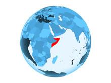 Somalia On Blue Globe Isolated