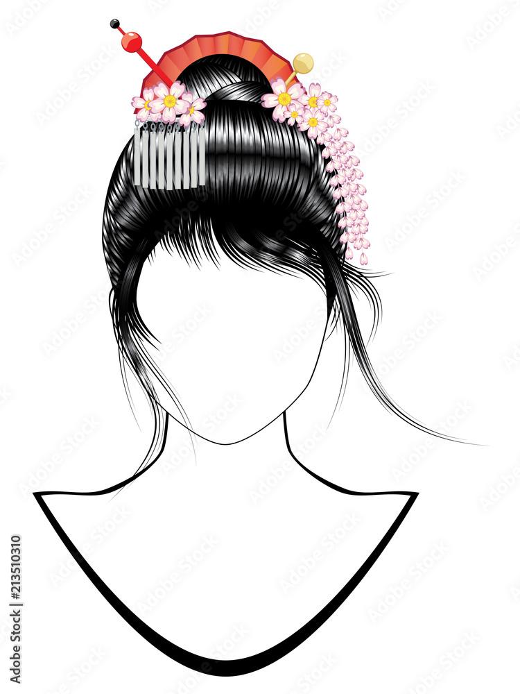 Fototapeta Japanese girl hairstyle