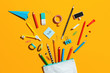 canvas print picture School supplies and pencil case. Back to school concept.