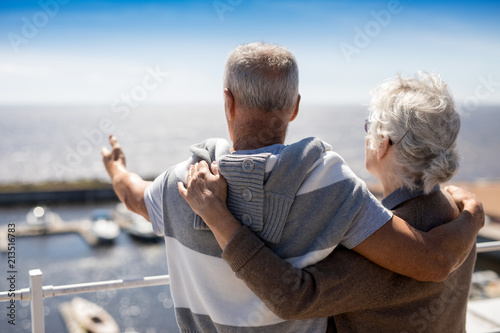 Foto Senior man pointing at beach while embracing his wife by seaside