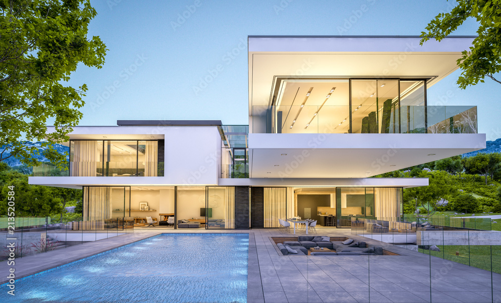 Fototapeta 3d rendering of modern house by the river at evening