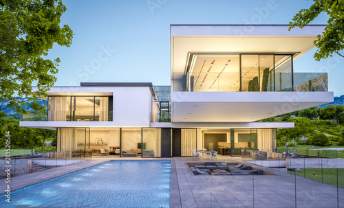 3d rendering of modern house by the river at evening - fototapety na wymiar