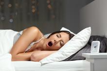 Sleepy Woman Yawning Ready To ...