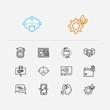 Digital technology icons set. Artificial intelligence and digital technology icons with data transfer, data center and bio technology. Set of cogwheel for web app logo UI design.