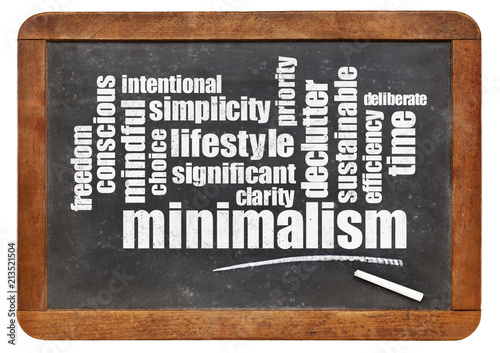 Fotografie, Obraz  minimalism l;ifestyle word cloud on blackboard