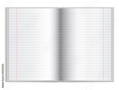 Fotografering  Open a schoolbook with lined paper in hardcover with space for text