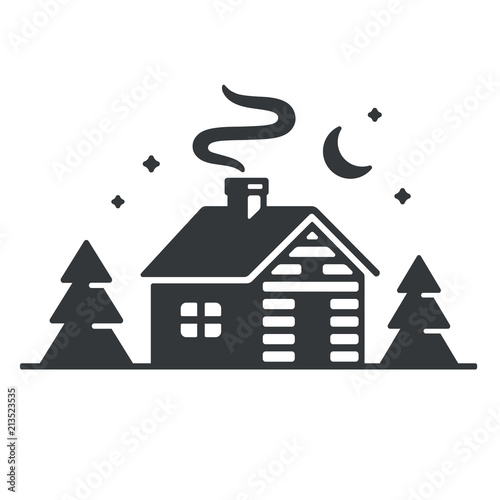 Cabin in woods icon Wallpaper Mural