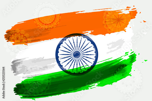 Fotografia Vector flag of India in the style of watercolor paints with a pattern