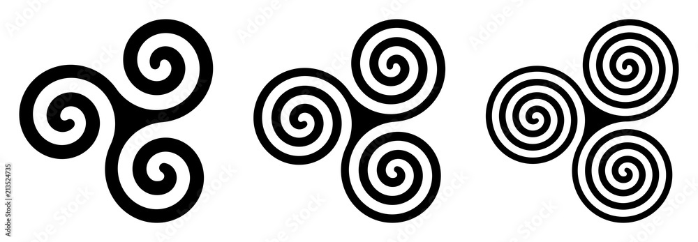 Fototapety, obrazy: Three black celtic triskelion spirals over white. Triple spirals with two, three and four turns. Motifs of twisted and connected spirals, exhibiting rotational symmetry. Isolated illustration. Vector.