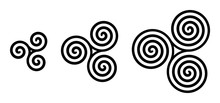Black Celtic Triskelion Spirals Over White. Triple Spirals With Two, Three And Four Turns. Motifs Of Three Twisted And Connected Spirals, Exhibiting Rotational Symmetry. Isolated Illustration. Vector.