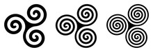 Three Black Celtic Triskelion ...