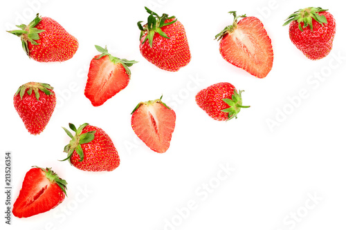Strawberries isolated on white background with copy space for your text. Top view. Flat lay pattern